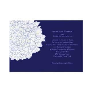 Navy Hydrangea Art Wedding Invitation from Zazzle