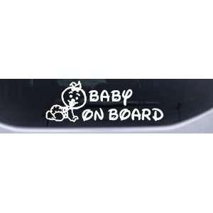 White 18in X 6.3in    Baby On Board (Girl) Car Window Wall