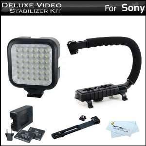 Deluxe LED Video Light + Video Stabilizer Kit For Sony DCR