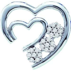10K White Gold Open Ended Double Heart Pendant Featuring a