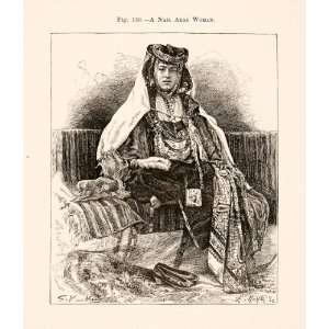 1893 Wood Engraving Nail Arab Woman Berber Dance Biskra Jelfa Costume