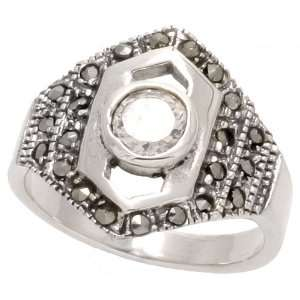 Sterling Silver Marcasite Hexagon shaped Ring, w/ Brilliant Cut CZ