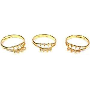 3 Gold Plated Finger Ring Jewelry Findings Charm Part
