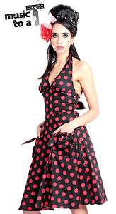 HELL BUNNY 50s SUN polka dot DRESS BLACK & RED SIZE 6 14