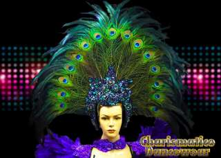 CHARISMATICO PEACOCK GREEN Drag QUEEN CARNIVAL Feather DIVA Pageant