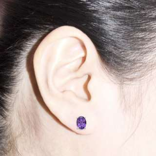 925 Sterling Silver 5x7 Oval Amethyst Stud Earrings