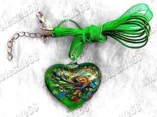 Wholesale lots 18strands Heart Glass Pendants Necklace