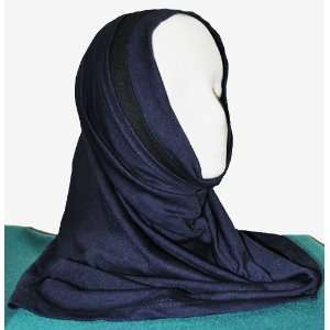 Navy and Black Two Tone 2 Piece Al Amira Style Hijab