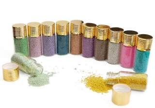 12 x fine glitters decoration nail art beads bottle 051