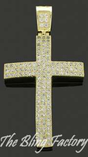 Mens Gold Iced Out Cross CZ Hip Hop Bling Pendant Charm