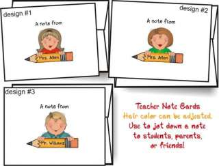 TEACHER with PENCIL Personalized Note Cards Stationery