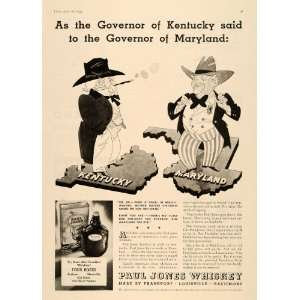 1934 Ad Paul Jones Whiskey Alcohol Drink Beverage Roses