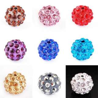 10p 9Colors 12MM Disco Rhinestone Crystal Ball Beads 2MM Hole Fit