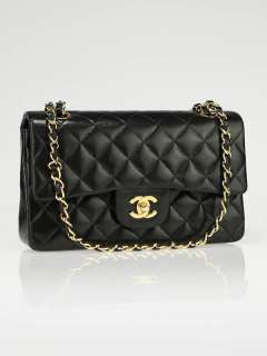Chanel Black Quilted Lambskin Leather Small Classic Double Flap Bag