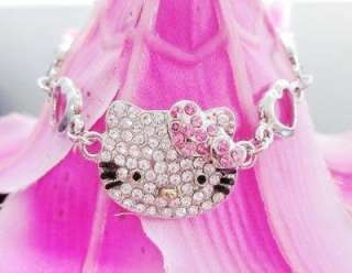 kitty KT pink heart double peach bracelet crystal Z15 Bangle