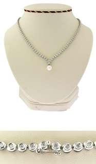 New 18Kt White Gold Diamond Akoya Pearl Necklace
