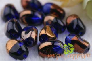 100 Pcs Gold plated Royal blue Helix Twist crystal glass beads 13*10mm