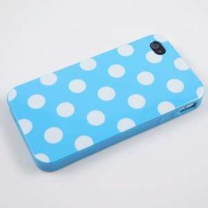 Baby Blue Polka Dot Flex Gel Case for Iphone 4 & 4S Cell