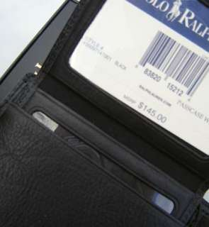 Nwt $145 Authentic Polo Ralph Lauren Mens Passcase Wallet Black + Gift