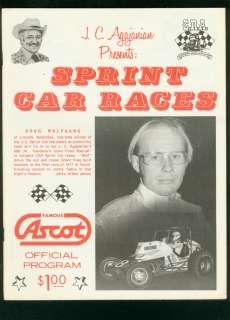 ASCOT PARK CRA SPRINT CAR RACING PROGRAM SEPT 30 1978