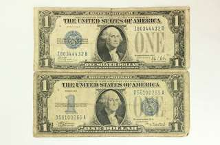 1934 Lot of 2   One Dollar $1 Bill Funny Back Silver Certificates Blue