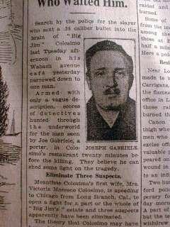 Tribune newspaper Gangster JIM COLOSIMO DEAD Al Capone kills him