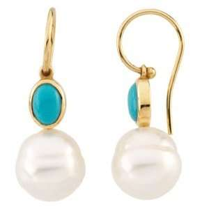 14k Gold S. Sea Cult. Pearl Created Turquoise Earring