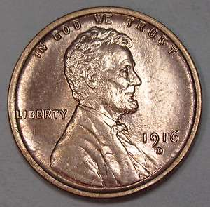 1916 D Lincoln Cent / Penny * Gem BU Red * Key Date *