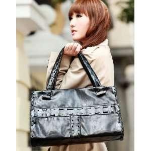 Faux PU Woven Leather Purse Shoulder Bag Handbag Tote Satchel Women
