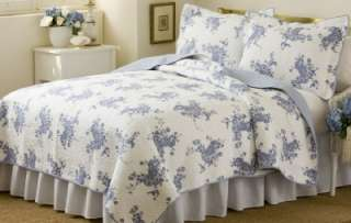 MELISSA Twin Quilt Set Blue French Country Vintage Rose