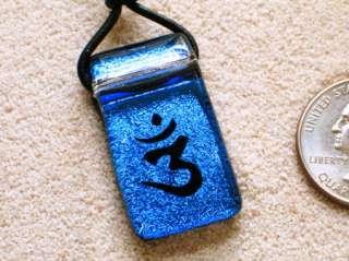 Hindu pendant Om Aum Ohm Yoga symbol Reiki Mantra Glass
