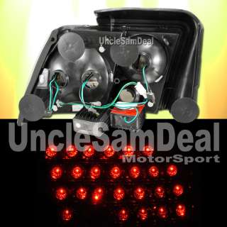 FORD MUSTANG CLEAR LENS BLACK LED L.E.D.TAIL LIGHT PAIR
