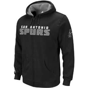 adidas San Antonio Spurs Black Game Time Full Zip Hoodie Sweatshirt (X