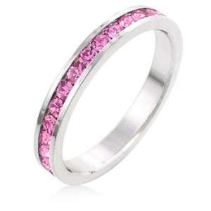 Stacker Ring with Round Cut Pink CZ in a Channel Setting in Silvertone