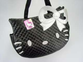 Title  Hello Kitty Black Leather Like Tote Bag Handbag Purse