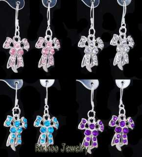 Wholesale 12pairs earrings rhinestone bow tie shape silver plated
