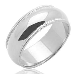 Milgrain Comfort Fit Band White Gold Ring For Women & Men   Size 5.5