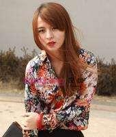 2012 Spring Women Vintage Chiffon Floral Print Shirt Blouse XS S M