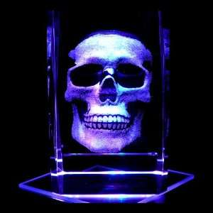Human Skull 3D Laser Etched Crystal includes Two Separate LEDs