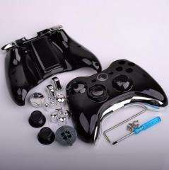 XBOX 360 BLACK AND & CHROME SILVER WIRELESS CONTROLLER SHELL CASE MOD