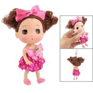 White Dotted Fuchsia Dress Plastic Doll Hang Adorn Home & Kitchen