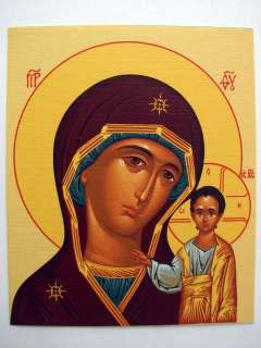 Two icons Savior and Our Lady of Kazan cardboard icons 10x12cm canvas