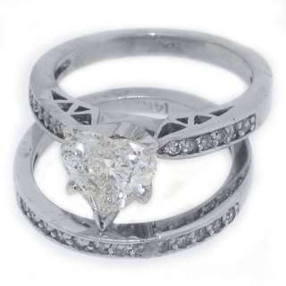 WOMENS DIAMOND ENGAGEMENT RING WEDDING BAND BRIDAL SET HEART SHAPED