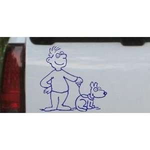 Blue 14in X 14.2in    Man and Dog Stick Family Car Window Wall Laptop