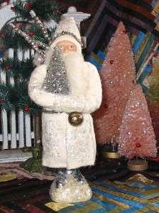 White and Silver Belsnickle Santa Paper Mache Container