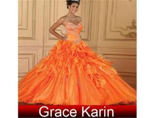 Quinceanera orange wedding Dress Prom Ball Gown Evening Dresses