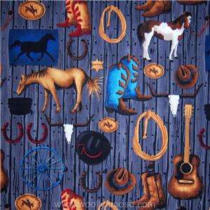 HALF YARD WRANGLERS RANCH Cowboy Hat Horse Saddle Lasso SSI ED Fabric