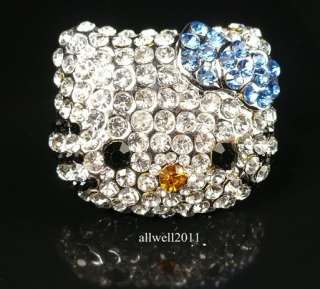 Hello Kitty Face Big Crystal Bling Ring Adjustable Blue Bow+ Gift Ring