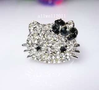 Cute Hello Kitty Crystal Bling Ring Adjustable In Gift Ring Box Black
