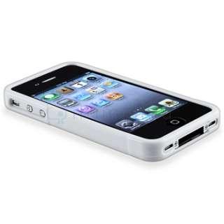 White S Shape Rubber Soft Gel TPU Case Skin+Stylus Pen For iPhone 4 4G